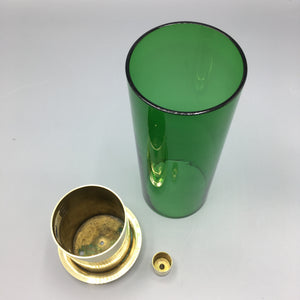 Hans-Agne Jakobsson c. 1950 Brass & Tinted Green Glass Hurricane Candle Holder