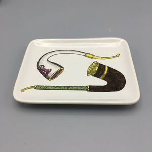 Piero Fornasetti c. 1950 Hand Lithographed Porcelain 'Pipes' Tray