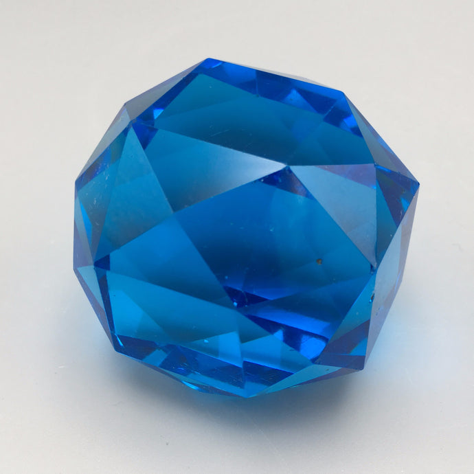 Azure Blue Art Deco Crystal Glass Paperweight