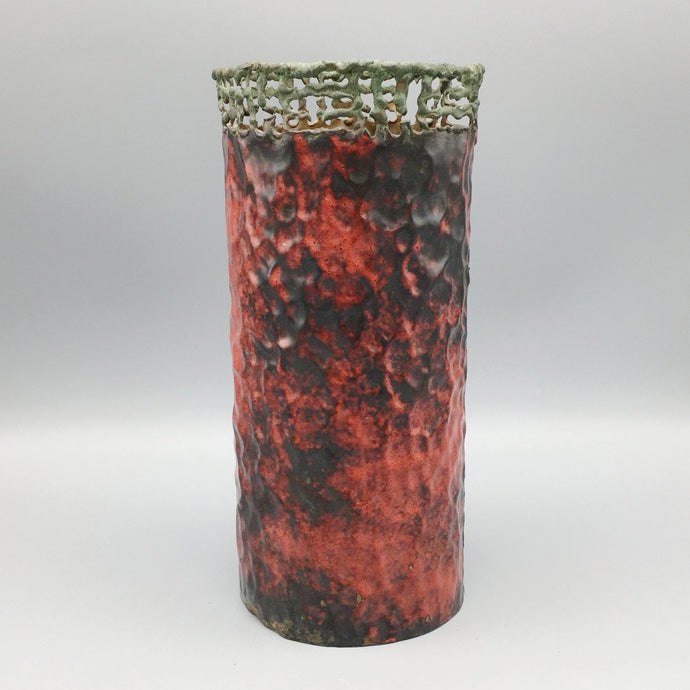 Marcello Fantoni for Raymor c. 1950 Mid Century Modern Hammered Copper Vase with Red Enamel