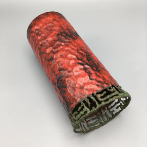 Marcello Fantoni for Raymor c. 1950 Hammered Copper Metal Vase with Red Enamel Overlay