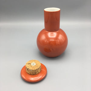 Kenji Fujita for Freeman Lederman c. 1960 Mid Century Cinnabar Red Porcelain Decanter