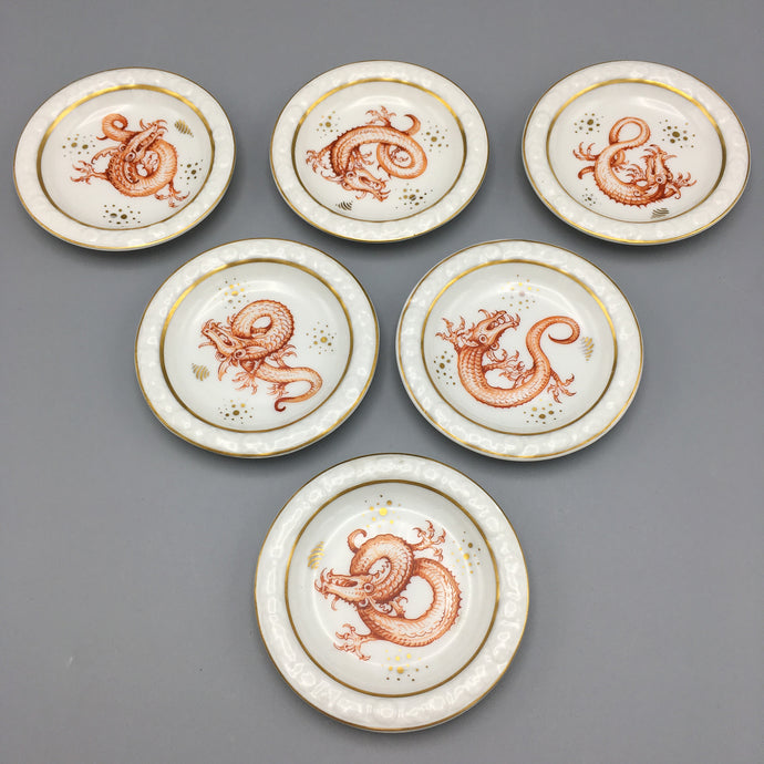 Six c. 1920 Handpainted Aesthetic Ryong Dragon Coasters / Trays