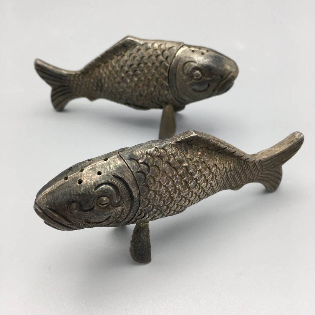 Sterling Silver Handwrought Fish Salt & Pepper Shakers by Janna Thomas