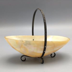 Hand Carved Nautilus Shell Basket with Silver Fixtures