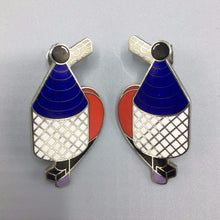 Richard Meier Modernist Cloisonné Enamel Earrings for ACME Los Angeles