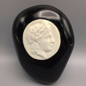 Large Piero Fornasetti for Bucciarelli Black Freeform Medallion Paperweight