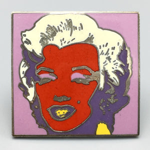Andy Warhol Vintage 1980s Cloisonné Enamel Marilyn Monroe Red Pin