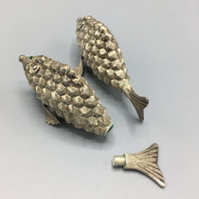 Sterling Silver Salt & Pepper Shakers by Hector Aguilar in Handwrought Fish Design