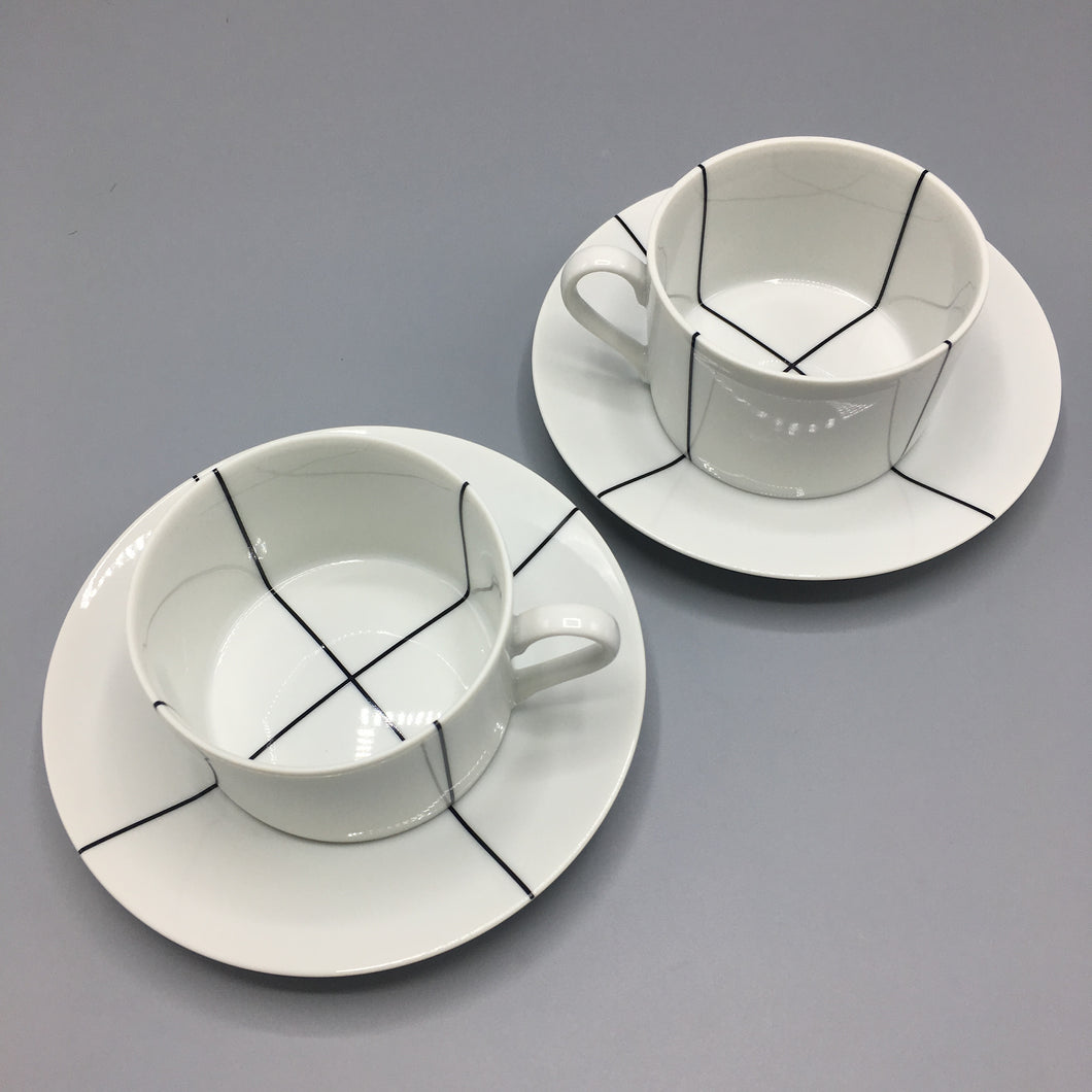 Richard Meier Swid Powell Minimalist Signature Black Cup & Saucer Set (8 pc)