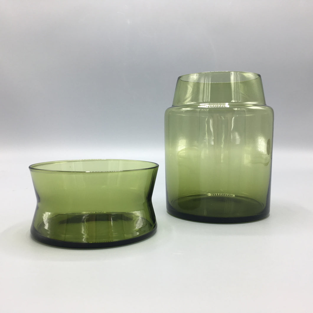 Sasaki Japan 1960's Lidded Green Glass Container & Cup Lid