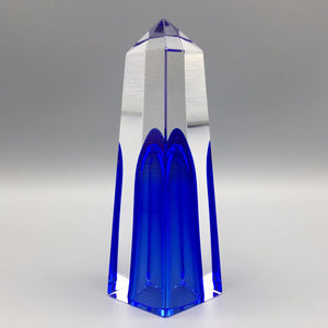 Mandruzzato 1970s Italian Deep Blue Faceted Sommerso Murano Glass Obelisk