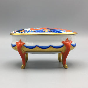 Art Deco c. 1920s Footed 'Indra' Crane Porcelain Box by Kurt Wendler for Rosenthal Bavaria