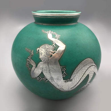 Gustavsberg Argenta Art Deco Vase with Sterling Silver Mermaid Relief