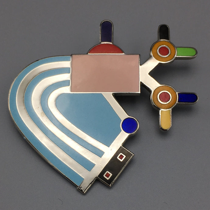 Rare Vintage Memphis Milano Enamel Pin Abstract Modernist Enamel Brooch