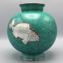 Large Art Deco Vase by Wilhelm Kage for Gustavsberg Argenta with Sterling Silver Fish Relief