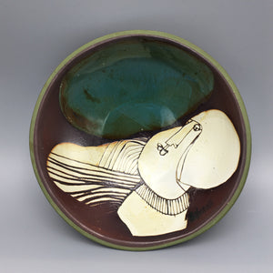 Susana Espinosa Abstract Glazed Sgraffito Terra Cotta Vessel