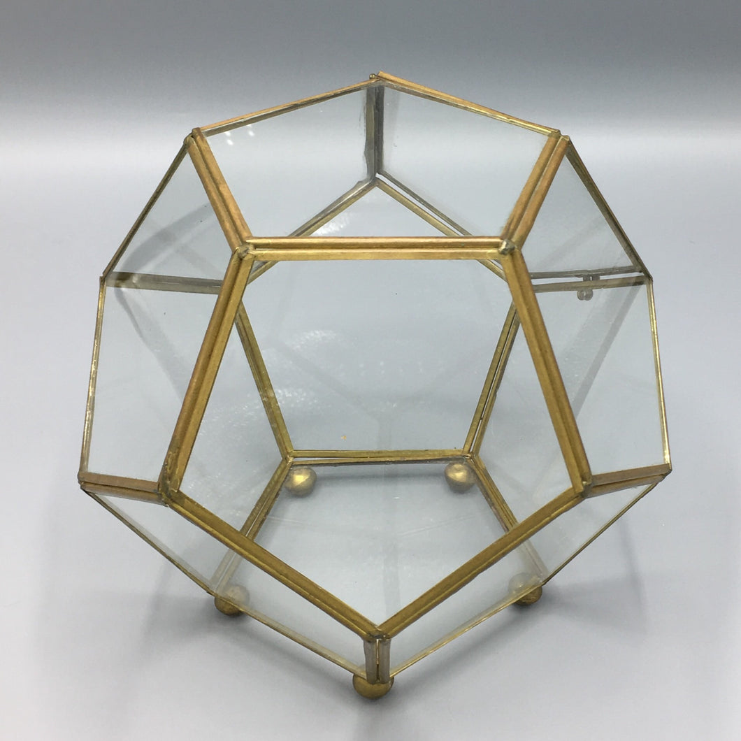 Large Vintage 1970s Geodesic Polyhedron Glass & Brass Terrarium Box
