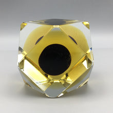 Mandruzzato Faceted Dark Oxblood Sommerso Murano Glass Paperweight
