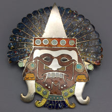 Vintage Sterling Silver Pin Mexican Enamel