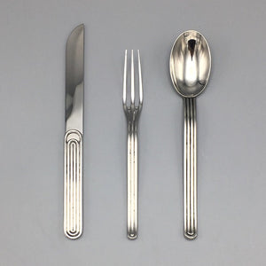 Rare 1970's 1980's Minimalist Modernist Stainless Steel Flatware Set