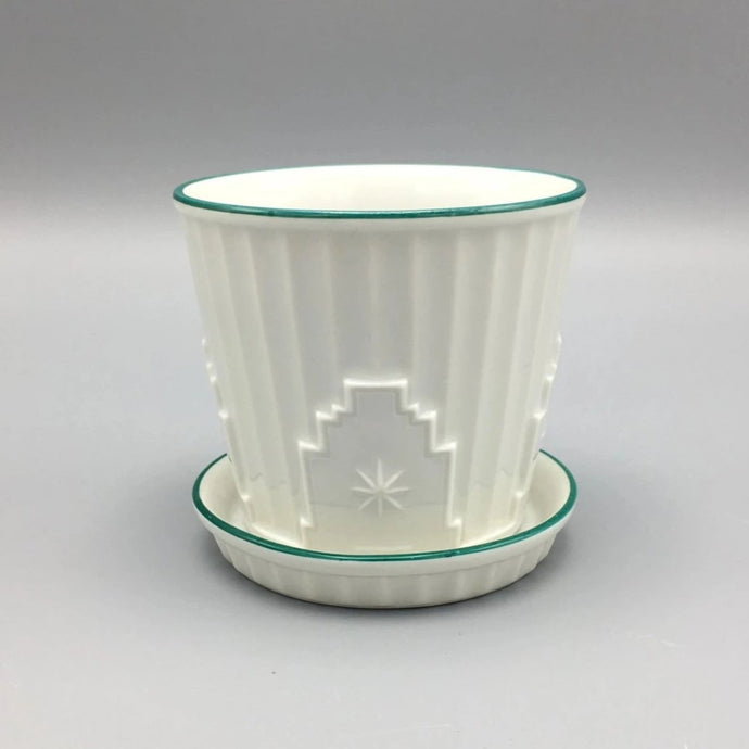 Augarten Vienna c. 1920 Art Deco 'Skyscraper' Flower Cactus Pot with Underplate