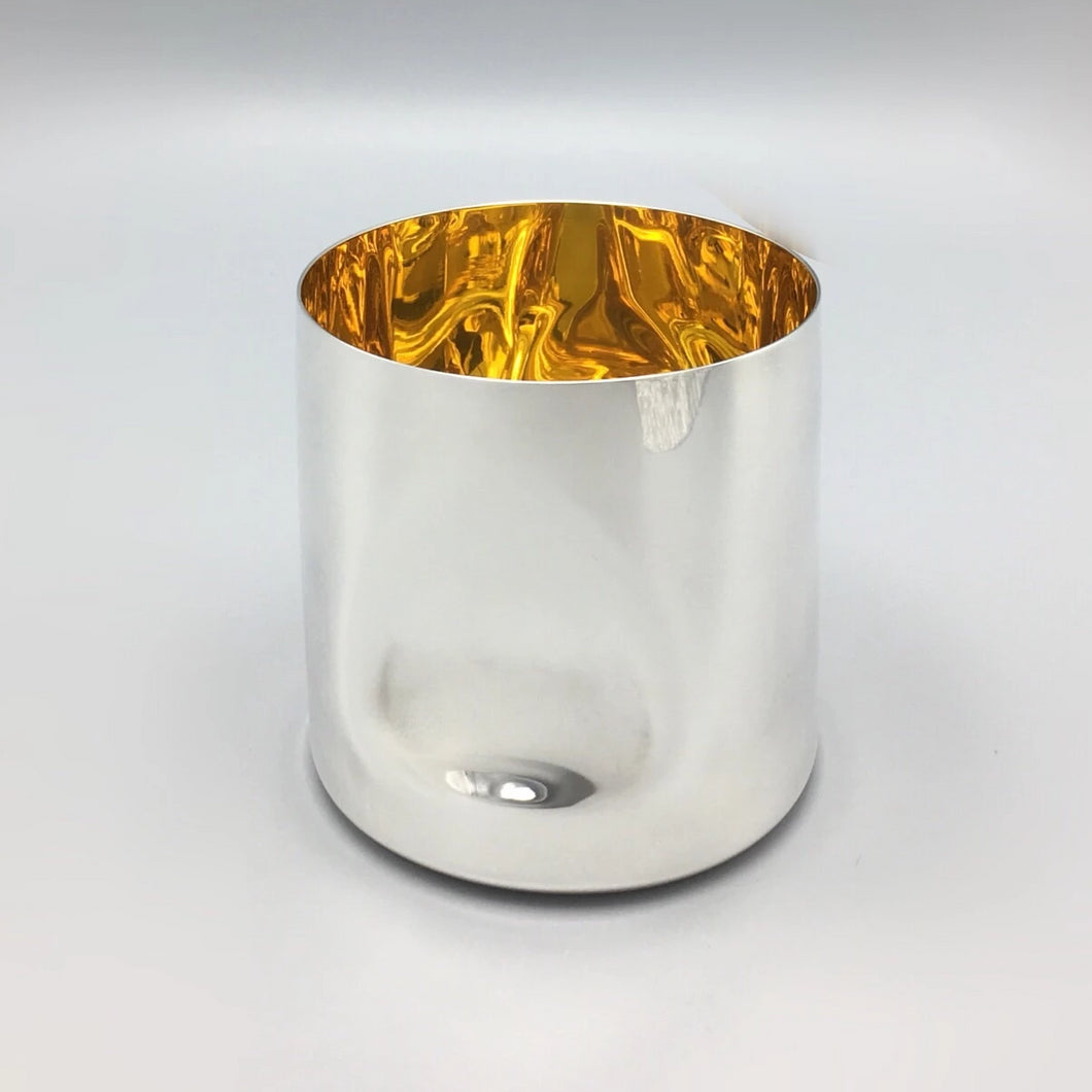 Tiffany & Co. Elsa Peretti Sterling Silver Thumbprint Water Cup with 24k Gold Interior