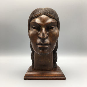 Hand Carved Wooden Native American Bust