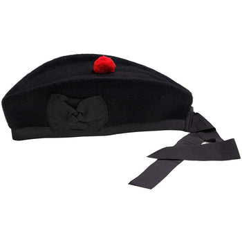 Glengarry Caps - Black with Tartan Strip