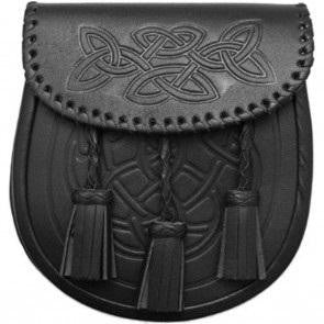 Leather Sporran - Black 126 - Affordable Kilts