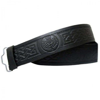Black Leather Thistle Embossed Belt