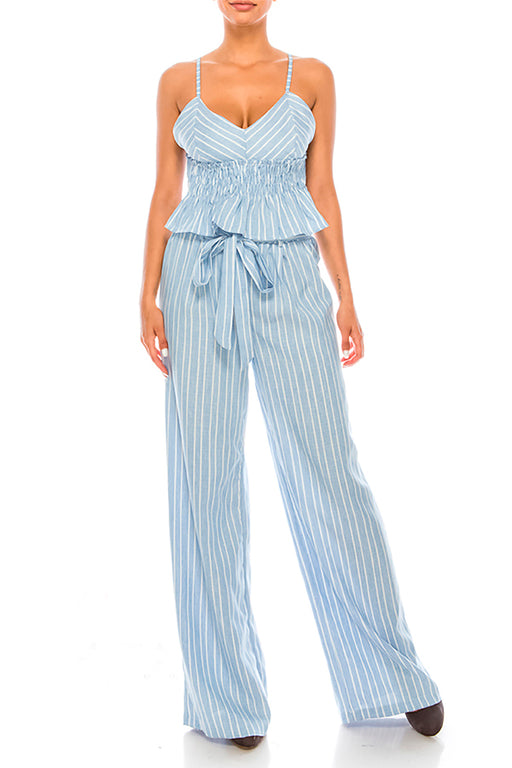 Blue Striped Pants