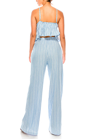 Tie Waist Striped Blue Pants