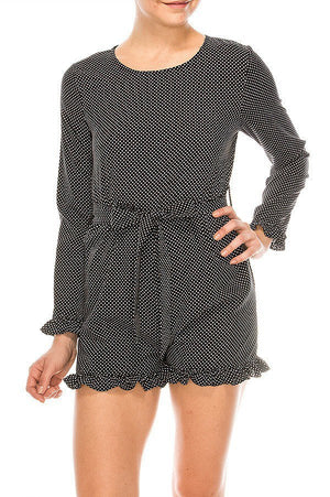 Polka Dot Patter Romper w/ Waist Tie | 3 Colors Available