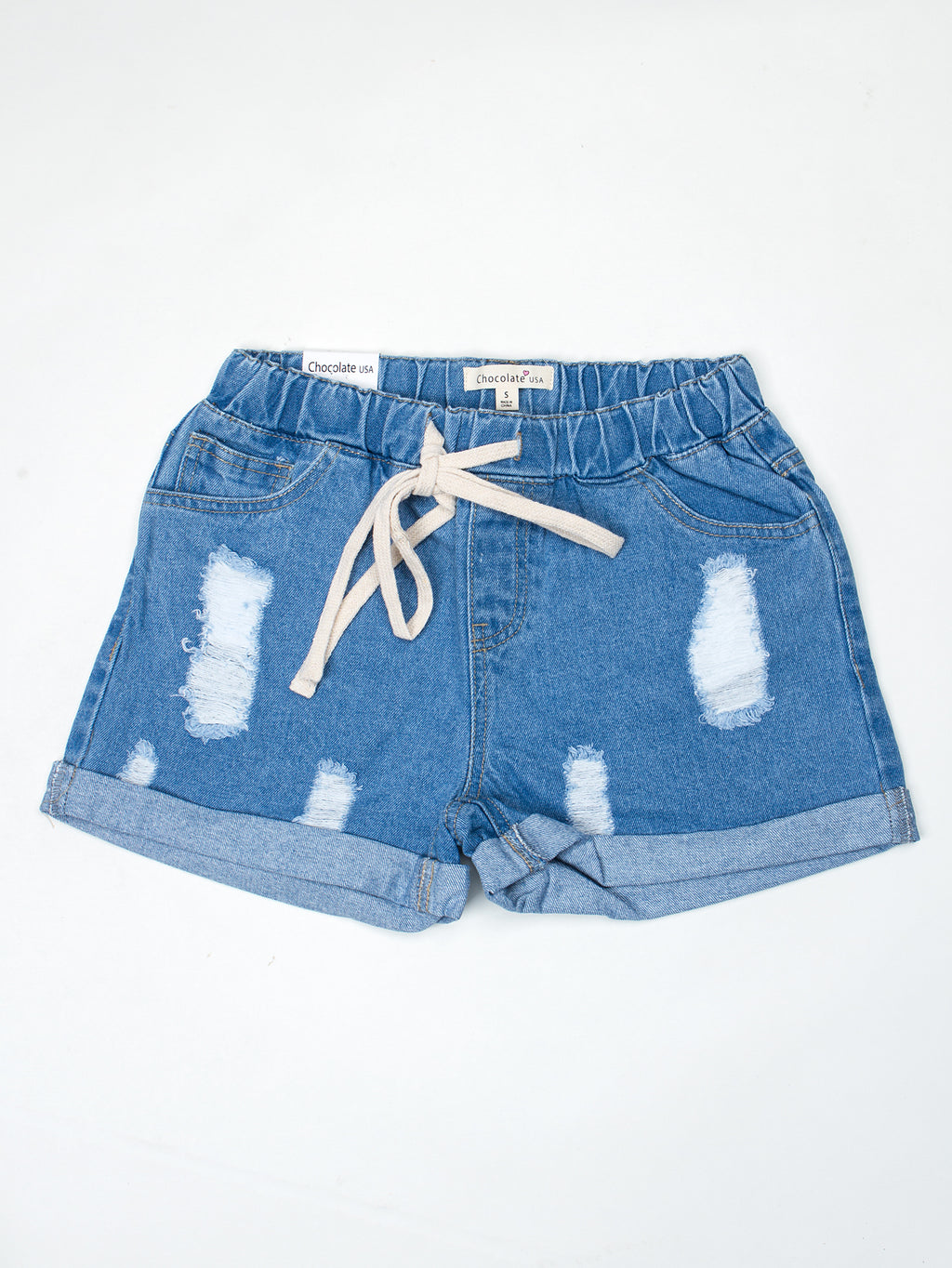 Drawstring Elastic Waist Distressed Roll-Up Hem Denim Shorts