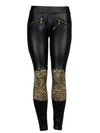 Faux Leather Leopard Block Print Leggings