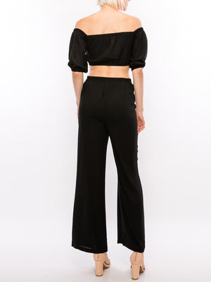 Self Tie front Off Shoulder Crop Top with Wide Pants Set
