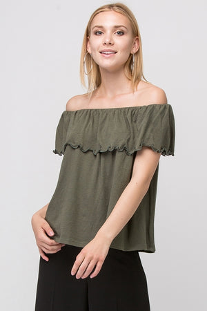 RUFFLED OFF-THE-SHOULDER TOP | 5 Colors Available