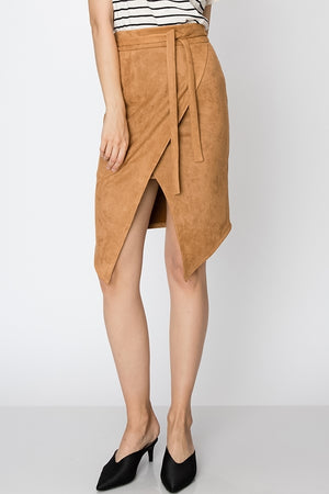 Suede Skirt w/ Waist Tie and Front Slit | 4 Colors Available