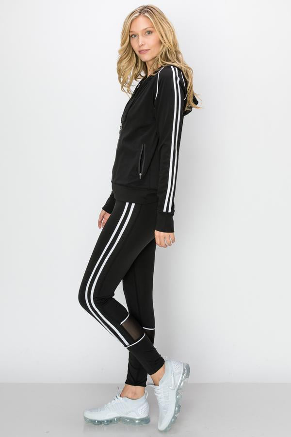 2pcs Double-Stripe Zip-Up Hoodie & Jogger set