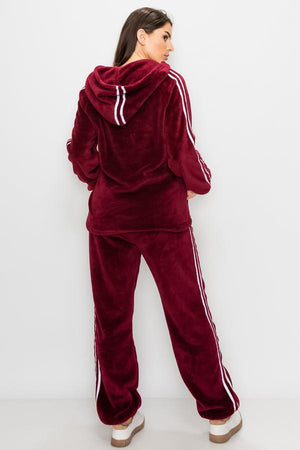 Black & White Double-Stripe Teddy Fleece Zip-up Hoodie & Joggers