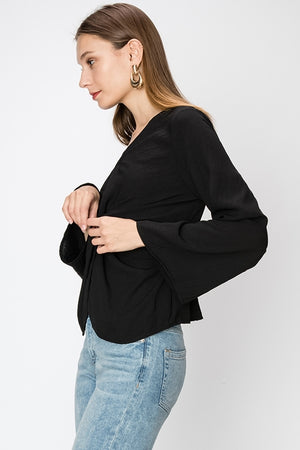 Knot Front Wide Sleeve Blouse | 6 Colors Available