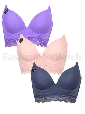 Floral Lace Trim Long Line Push-Up Bra (3pcs/PACK)