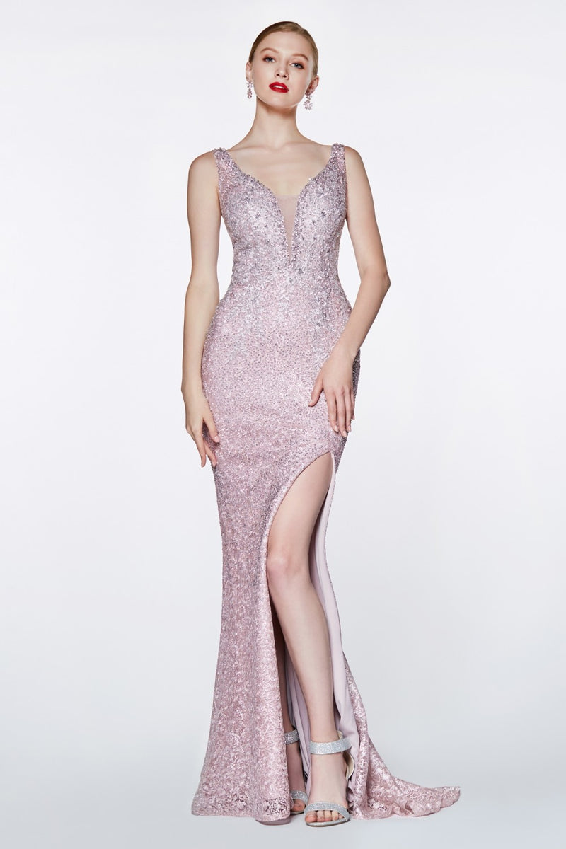Fitted Beaded Lace Gown w/ Deep V-Neckline and Open Back
