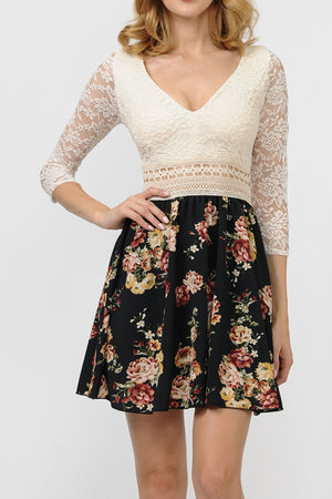Lace Detail Floral Skirt Dress | 2 Colors Available