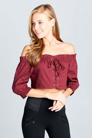 Off Shoulder Poplin Lace Up Grommet Top | 2 Colors