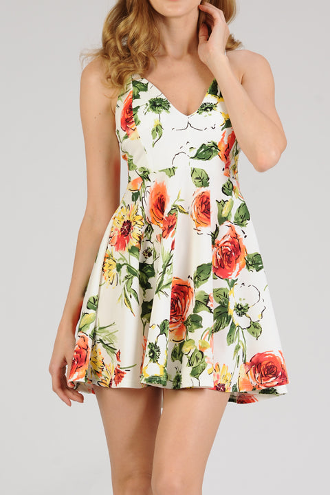 Flower Print A-Line Scuba Dress | 2 Colors Available
