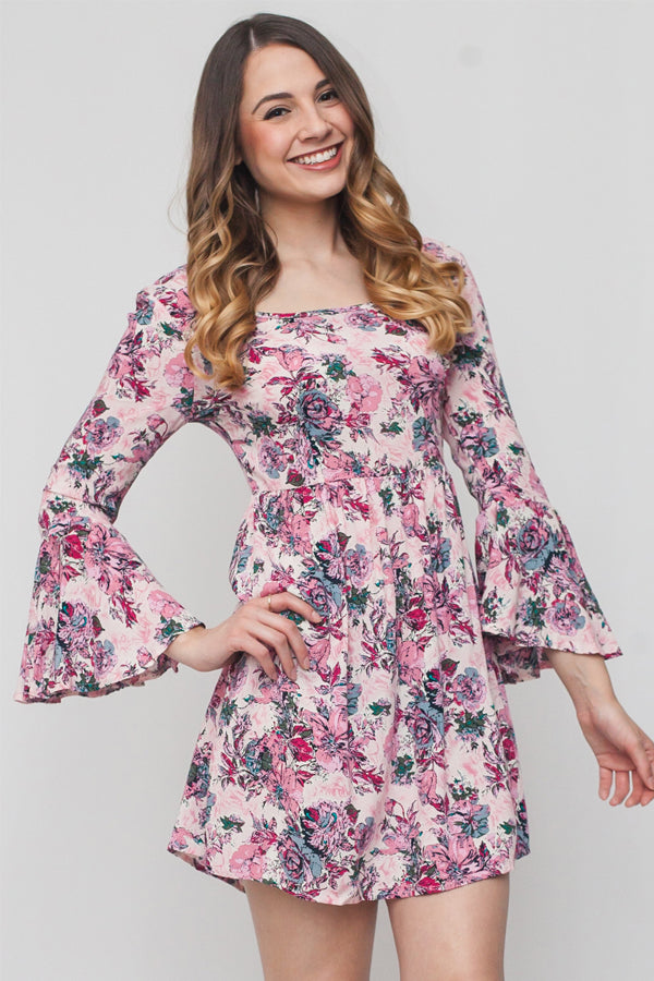 Scoop Neck Floral Bell Sleeve Dress