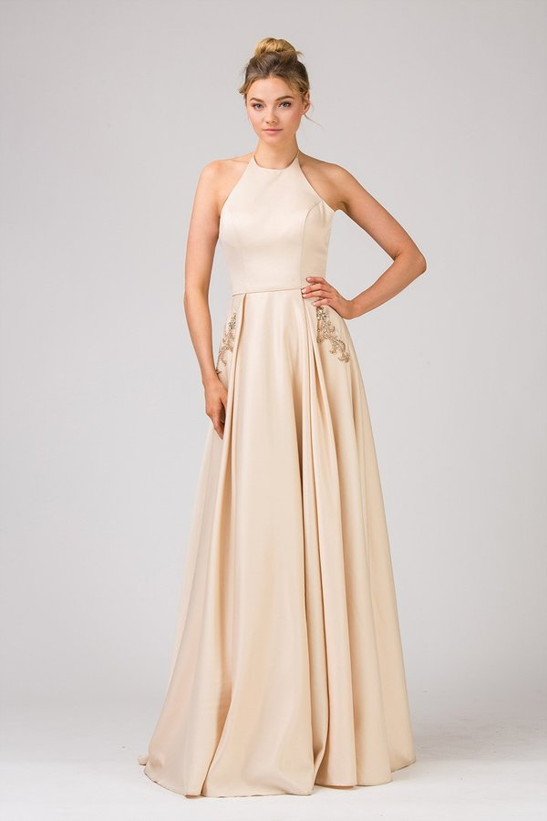Floor Length A-Line Rich Satin Dress | 2 Colors