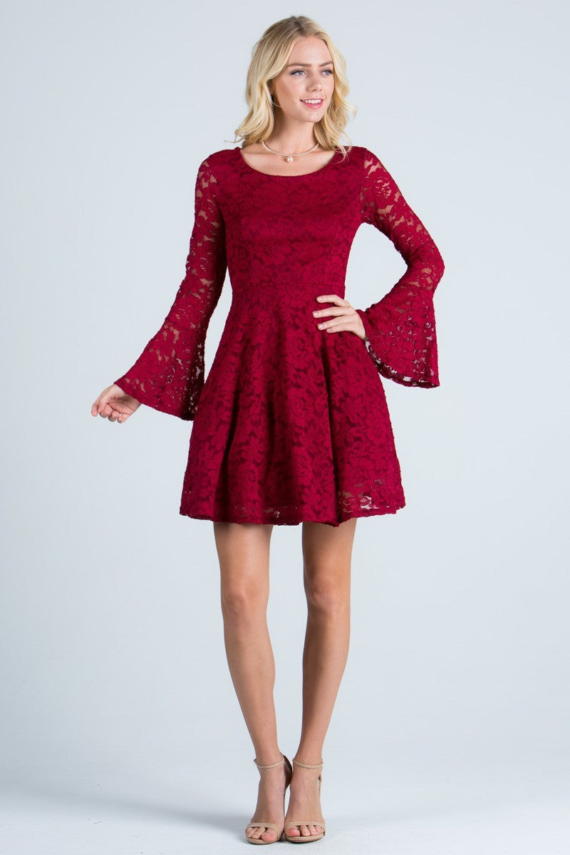 Lace Bell Sleeve Fit and Flare Dress | 5 Colors Available